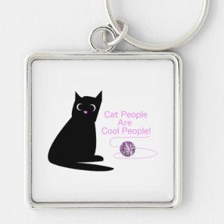 Les personnes de chat sont les personnes fraîches porte-clé carré argenté