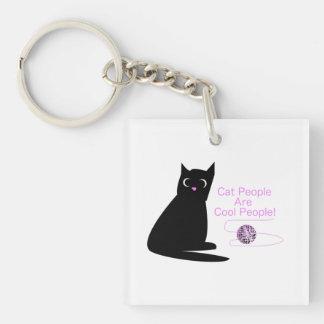Les personnes de chat sont les personnes fraîches porte-clé carré en acrylique une face