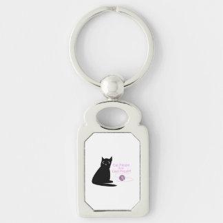 Les personnes de chat sont les personnes fraîches porte-clé rectangulaire argenté