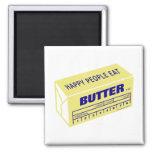 Les personnes heureuses mangent du beurre (bleu) aimants pour réfrigérateur