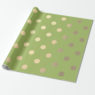 Les petits points de polka verdissent vert l'or papier cadeau noël