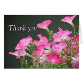 les pétunias roses vous remercient carte de note