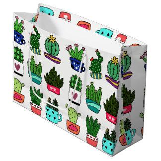 Les plantes de cactus en grand cadeau de pot grand sac cadeau
