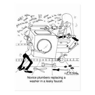 Les plombiers de novice installent un joint cartes postales