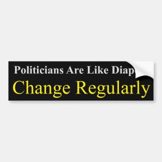 Les politiciens sont comme des couches-culottes autocollant de voiture