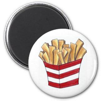 Les pommes frites font frire l'aimant de fin magnet rond 8 cm