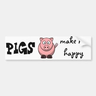 Les porcs me rendent heureux autocollant de voiture