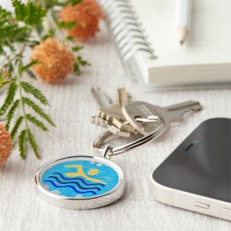Les porte - clés refroidissent l'esprit en porte-clé rond argenté