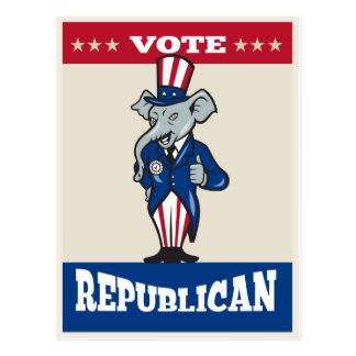 Les pouces républicains de mascotte d'éléphant lèv carte postale