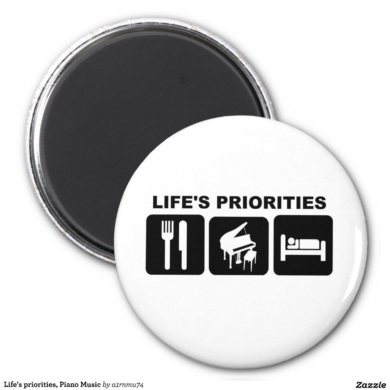 Les priorit s de la vie musique de piano magnet rond 8 cm for Surface minimum bureau afnor