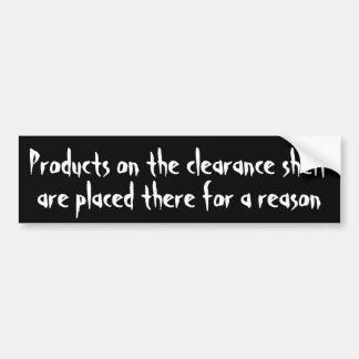 Les produits sont sur le dégagement pour une raiso autocollant de voiture
