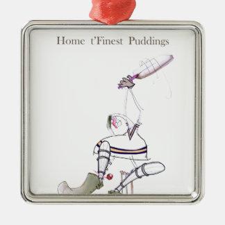 Les puddings les plus fins de cricket de Yorkshire Ornement Carré Argenté