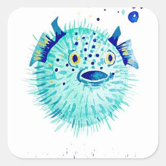 Les Pufferfish de Neptune Sticker Carré