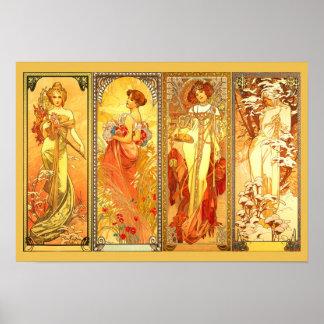 Les quatre saisons - par Alfons Mucha Posters