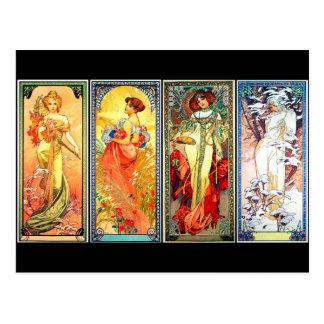 Les quatre séries 3 de saisons par la carte cartes postales