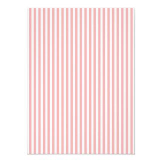 Les rayures de Valentines rougissent dedans rose Carton D'invitation 13,97 Cm X 19,05 Cm