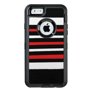 Les rayures rouges blanches noires refroidissent coque OtterBox iPhone 6/6s