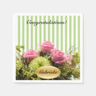 Les rayures vertes et blanches avec des fleurs | serviette en papier