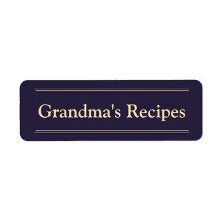Les recettes de la grand-maman étiquettes d'adresse retour