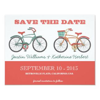 Les rétros bicyclettes vintages mignonnes font carton d'invitation 10,79 cm x 13,97 cm