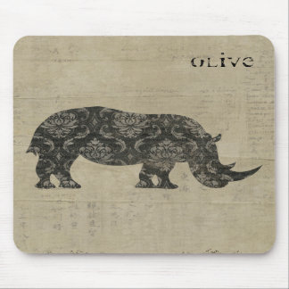 Les rhinocéros silhouettent Mousepad personnalisé Tapis De Souris