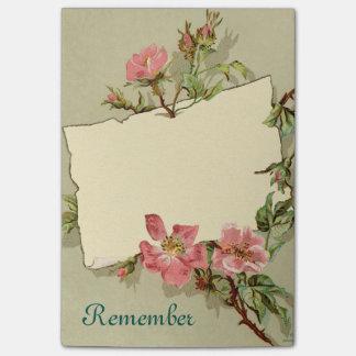 Les roses brumeux se rappellent de grandes notes note post-it