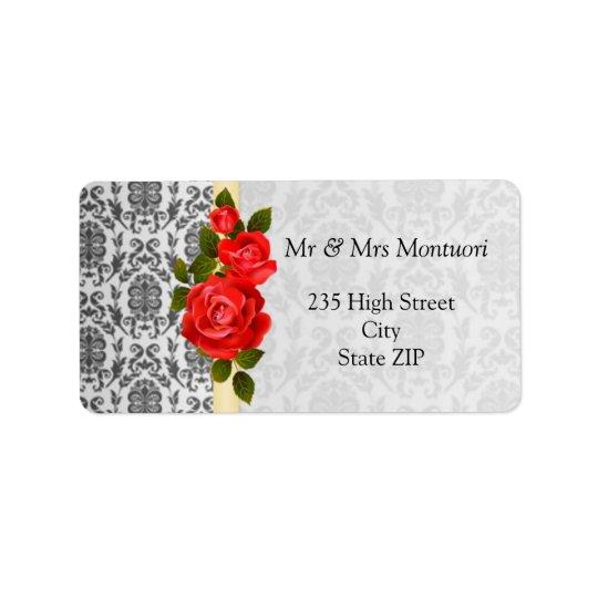 Les roses gris de damassé et rouges noirs étiquettes d'adresse