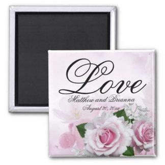 Les roses roses romantiques ont personnalisé le aimant