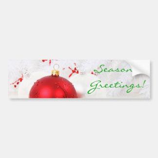 Les salutations de Seaon rouge et blanc de Noël I Autocollant Pour Voiture