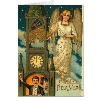 Les salutations vintages de nouvelle année carte de vœux