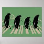 Les scarabées sur l'affiche de route d'abbaye