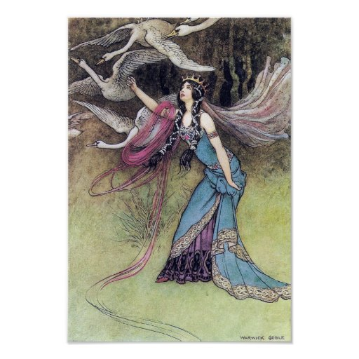 Les six cygnes par l'affiche de Warwick Goble