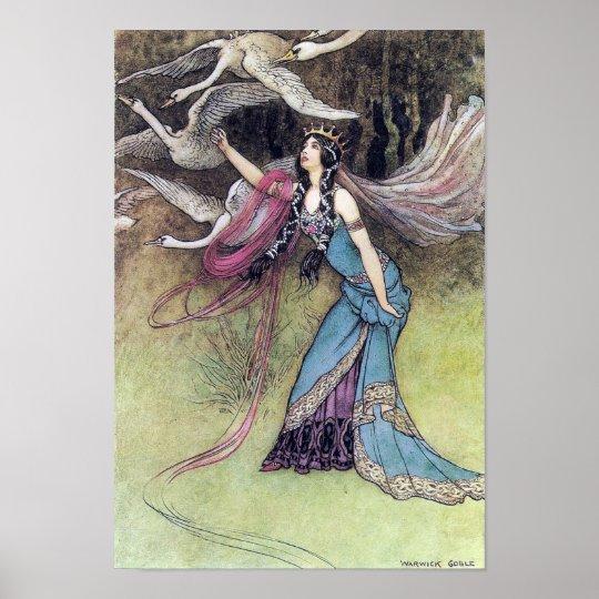 Les six cygnes par l'affiche de Warwick Goble Poster