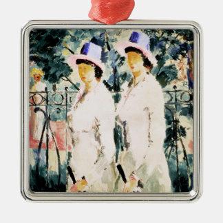 Les soeurs ornement carré argenté