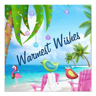 Les souhaits les plus chauds, oiseaux, palmiers, carton d'invitation  13,33 cm
