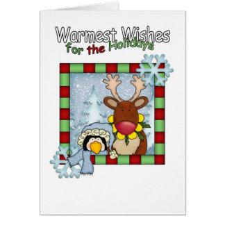 les souhaits les plus chauds renne et les vacances carte de vœux