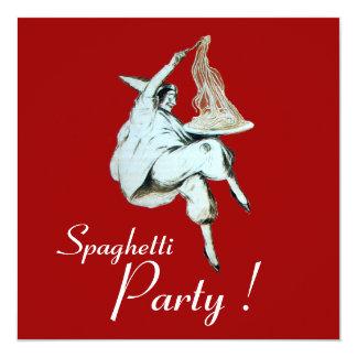 Les SPAGHETTI PARTY, dîner ITALIEN de CUISINE, Carton D'invitation 13,33 Cm