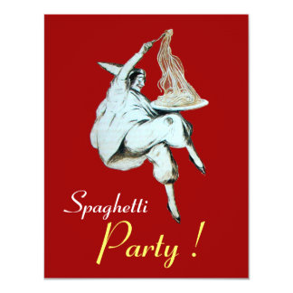 Les SPAGHETTI PARTY, dîner rouge de CUISINE Carton D'invitation 10,79 Cm X 13,97 Cm