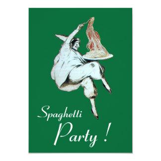 Les SPAGHETTI PARTY, dîner rouge de CUISINE Carton D'invitation 12,7 Cm X 17,78 Cm