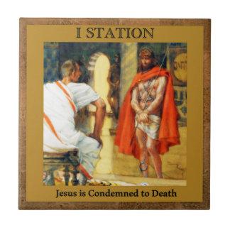 Les stations de la croix #1 de 15 Jésus est Petit Carreau Carré