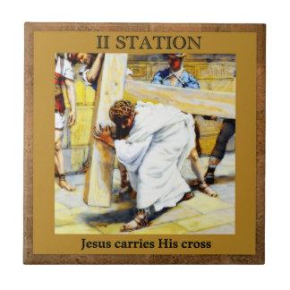 Les stations de la croix #2 de 15 Jésus porte la Petit Carreau Carré