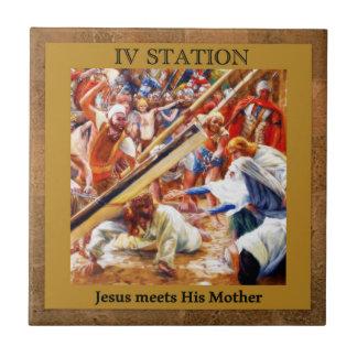 Les stations de la croix #4 de 15 Jésus rencontre Petit Carreau Carré