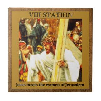 Les stations de la croix #8 de 15 Jésus rencontre Petit Carreau Carré