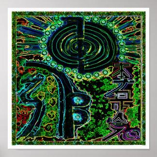 Les symboles du maître curatif de REIKI Karuna Affiche