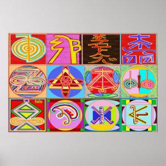 Les symboles du maître curatif de REIKI Karuna Posters