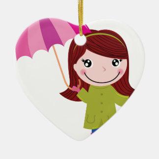 Les T-shirts pluvieux de fille Ornement Cœur En Céramique