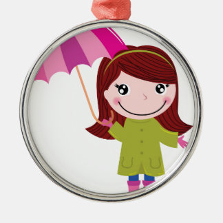 Les T-shirts pluvieux de fille Ornement Rond Argenté