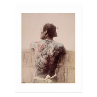Les tatouages du jeune marié japonais, c.1880 carte postale