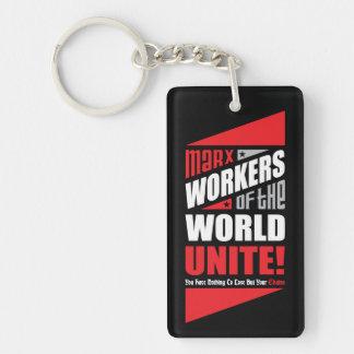 Les travailleurs de Karl Marx du monde unissent Porte-clé Rectangulaire En Acrylique Double Face