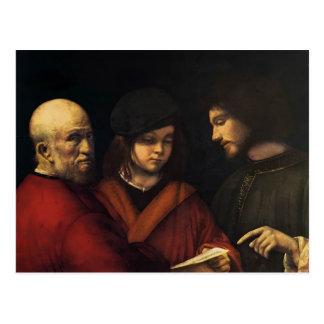 Les trois âges de l'homme par Giorgione Carte Postale